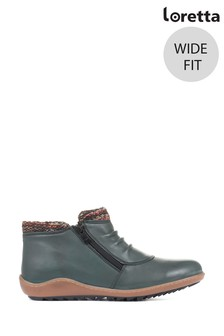 Loretta Green Ladies Wide Fit Leather Ankle Boots