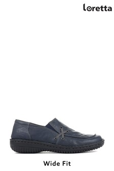 Loretta Navy Ladies Handmade Leather Slip-On Shoes