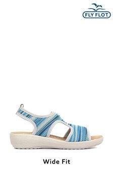 Fly Flot Blue Ladies Wide Fit Slingback Stretch Sandals