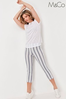 M&Co White Striped Cropped Trousers