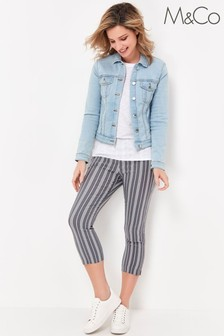M&Co Blue Striped Cropped Trousers