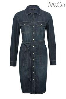 M&Co Blue Long Sleeve Denim Dress