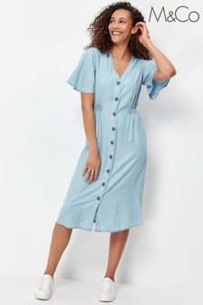 M&Co Blue Button Through Midi Tencel Dress