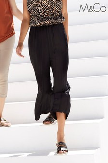 M&Co Black Crinkle Crop Culottes