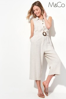 M&Co Natural Sleeveless Utility Jumpsuit