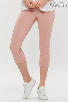 M&Co Pink Cropped Stretch Trousers