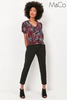 M&Co Black Plain Smart Jogger Trousers