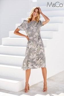 M&Co Grey Tribal Print Midi Dress