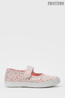 Trotters London Pink Martha Canvas Shoes