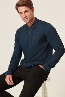 Teal Oxford Long Sleeve Pique Polo Shirt
