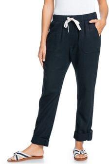 Roxy Grey On The Seashore Linen Cargo Trousers