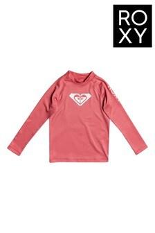 Roxy Pink Whole Hearted Long Sleeve UPF 50 Rash Vest