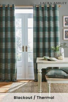 Laura Ashley Sage Green Alfriston Black Out Eyelet Blackout/Thermal Curtains