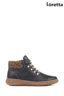 Loretta Black Leather Ladies Ankle Boots