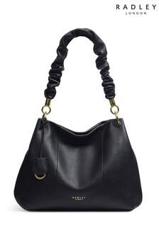 Radley Black Cuba Street Ruffle Medium Zip Top Shoulder Bag