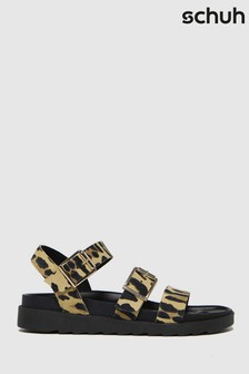 Schuh Beige Chaser Leather Chunky Buckle Sandals
