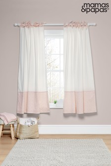 Mamas & Papas Pink Welcome to the World Tie Top Floral Curtains