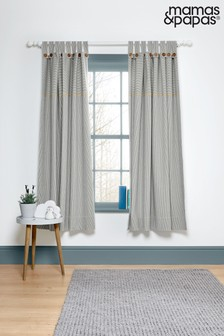 Mamas & Papas Blue Welcome to the World Tab Top Farm Curtains