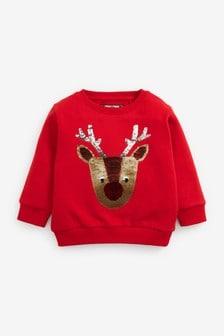 Red Sequin Reindeer Christmas Sweatshirt (3mths-7yrs)
