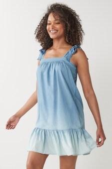 Blue Dip Dye Babydoll Dress