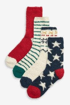 Red/Blue Cosy Bed Socks 4 Pack