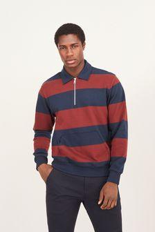 Rust/Navy Stripe Zip Neck Jersey Zip Neck Polo