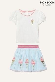 Monsoon Blue Disco Ice-Cream Top And Skirt Set