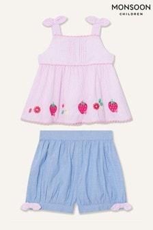 Monsoon Pink Newborn Strawberry Top And Shorts