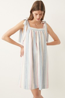 Pink Stripe Tie Shoulder Mini Dress