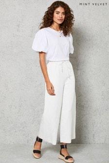 Mint Velvet White Wide Leg Crop Trousers