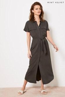 Mint Velvet Khaki Belted Midi Shirt Dress
