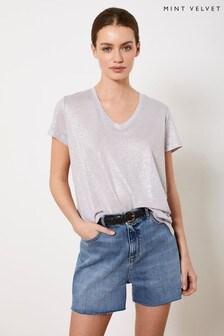 Mint Velvet Silver Lilac Shimmer V-Neck T-Shirt