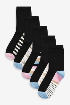 Pink/Blue Patterned Footbed Ankle Socks 5 Pack