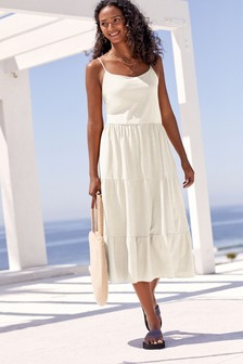 White Tiered Cami Dress