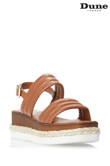 Dune London Brown Kazzy Padded Wedge Sandals