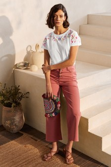 Boden Lena Embroidered Jersey T-Shirt