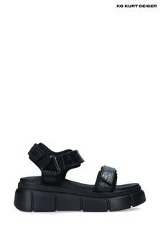 Kurt Geiger Black Vegan Rigged Sandals