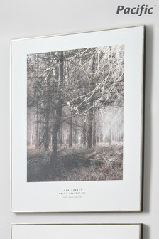 Pacific Mono Tree Print With Black Frame