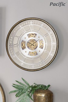 Pacific Antique Gold Metal & Mirror Round Cog Wall Clock