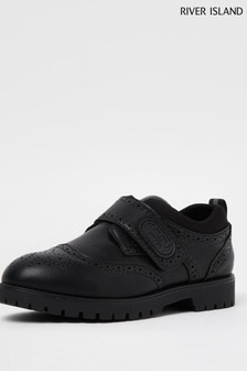 River Island Black Touch Fastening Brogues