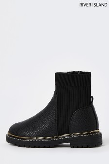 River Island Black Rib Chunky Boots