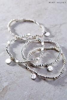 Mint Velvet Silver Tone Bead Bracelet