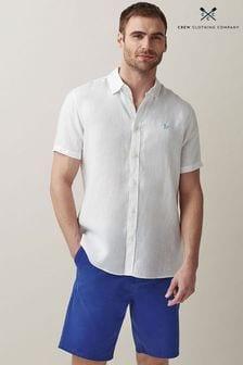 Crew Clothing Company White Short Sleeve Linen Shirt