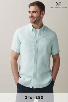 Crew Clothing Company Green Short Sleeve Linen Shirt