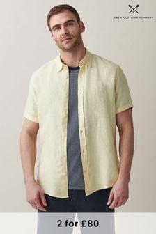 Crew Clothing Company Yellow Short Sleeve Linen Shirt