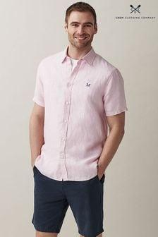 Crew Clothing Company Pink Short Sleeve Linen Shirt