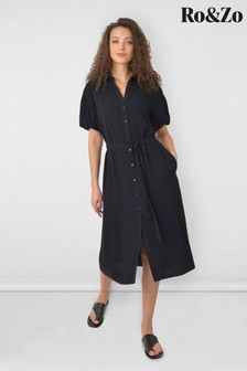Ro & Zo Black Linen Blend Midi Shirt Dress