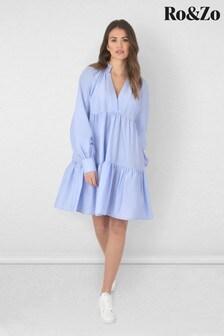 Ro&Zo Blue Frill Collar Tiered Dress