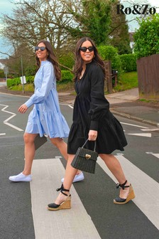 Ro&Zo Black Frill Collar Tiered Dress