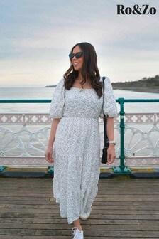 Ro & Zo White Spot Tiered Midi Dress